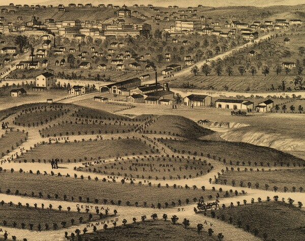 Detail of an 1877 lithograph commissioned by the Brooklyn Land and Building Company and advertising Brooklyn Heights' empty lots. Prospect Park appears in the foreground. Behind it, across the river, is central Los Angeles. Courtesy of the Big Map Blog.