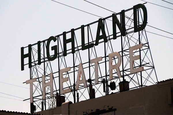 The recently (2011) restored Highland Park Theatre sign.