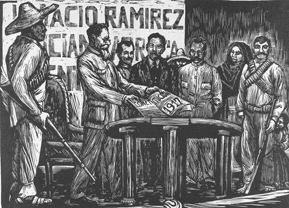 """Constitución del 17"" by Elena Huerta, ca. 1935. Relief print.   Courtesy Of University Of Notre Dame, Snite Museum Of Art."