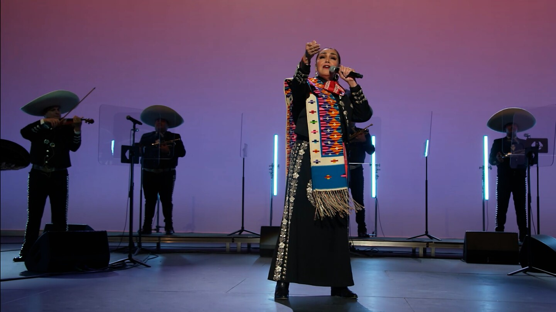 "Aída Cuevas and Mariachi Garibaldi de Jaime Cuéllar perform ""Tu, Solo Tu""  | Still from ""A Tribute to Linda Ronstadt at the Soraya"" from ""Southland Sessions"""
