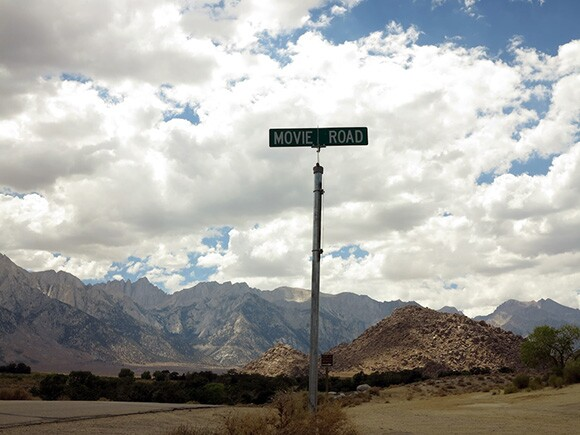 """""""Movie Road"""" sign at the turnoff into the Alabama Hills where film location sites from early to mid-twentieth century sites for Hollywood western films can be viewed. 