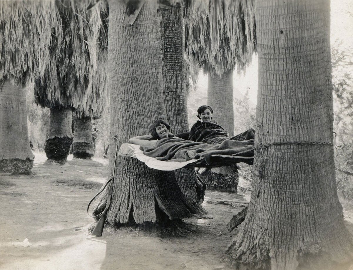 Susie Keef Smith and Lula Mae Graves lounge in hammocks at Corn Springs, 1930. | Warner Graves Collection.