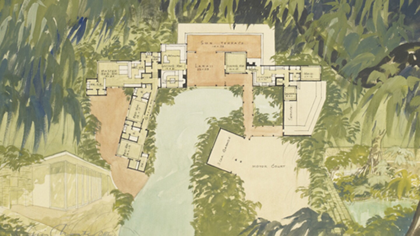 [Figure 2.  <em>House Beautiful</em> Demonstration Home, Woodacres. Detail of the floor plan.] | Courtesy of the USC Libraries' Helen Topping Architecture and Fine Arts Library.