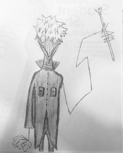 A drawing by Monika Ramirez Wee's son shows a plague doctor looking character with long arms while holding a staff.