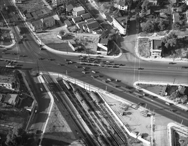 Before the viaduct, the complicated intersection of Glendale, Beverly, First, Second, and other streets often snarled traffic. 1936 aerial photo courtesy of the Auto Club of Southern California Archives.