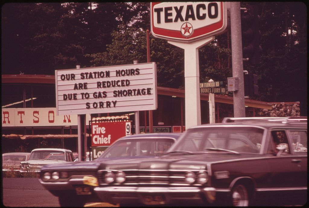 One of many service stations in the Portland area carrying signs reflecting the gasoline shortage