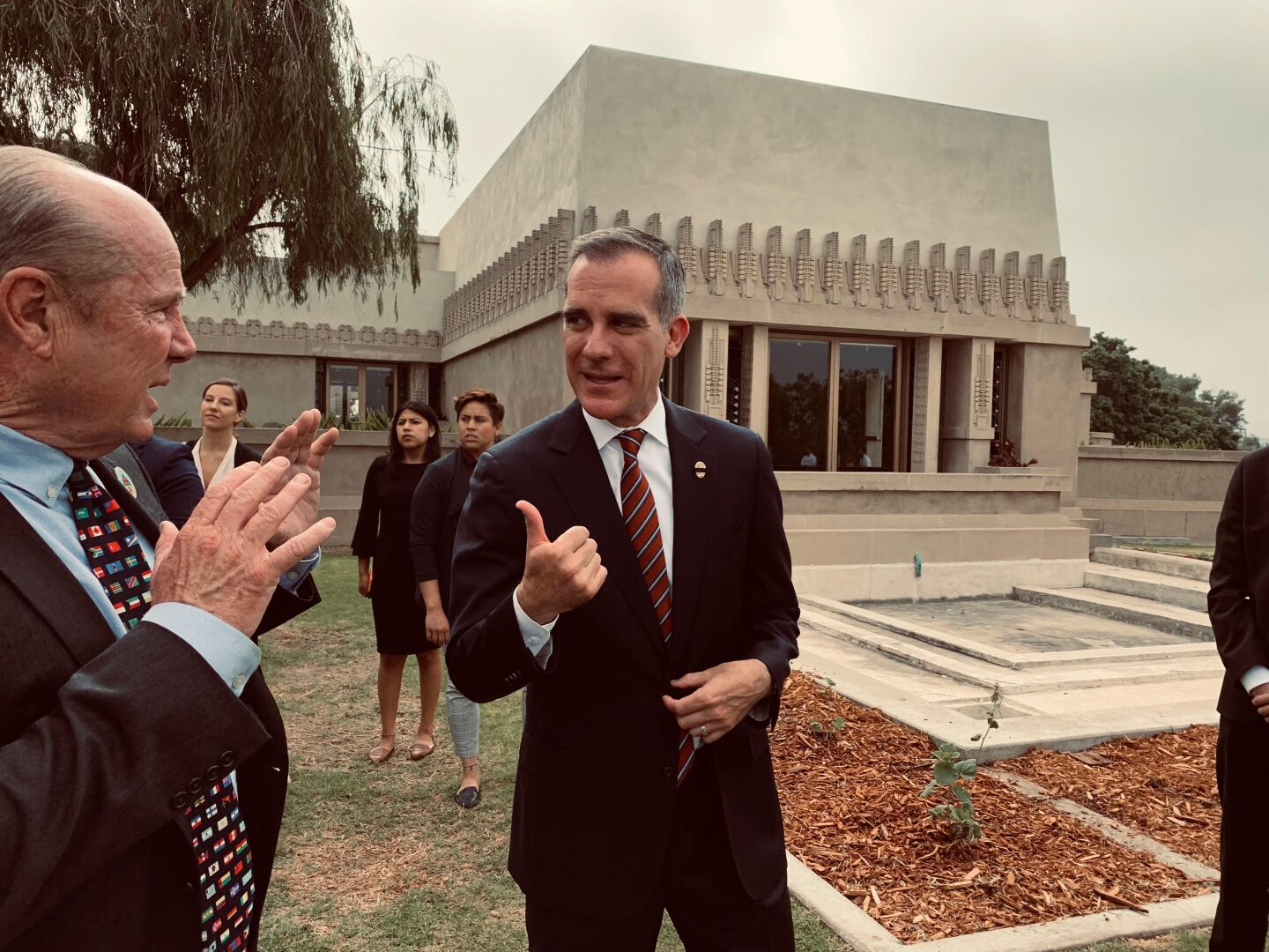 Tom LaBonge and Mayor Eric Garcetti at the Hollyhock House UNESCO event