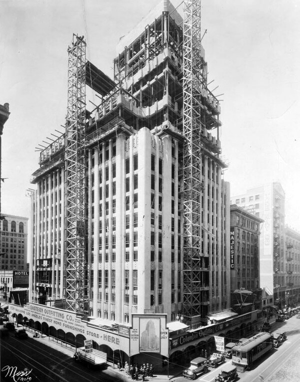 The 264-foot Eastern Columbia building under construction in 1930. Courtesy of the Herald-Examiner Collection, Los Angeles Public Library.