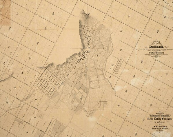 Detail of a map combining Ord's and Hancock's city plans. Courtesy of the Map collection on Los Angeles, California, the United States and the world; UCLA Young Research Library.