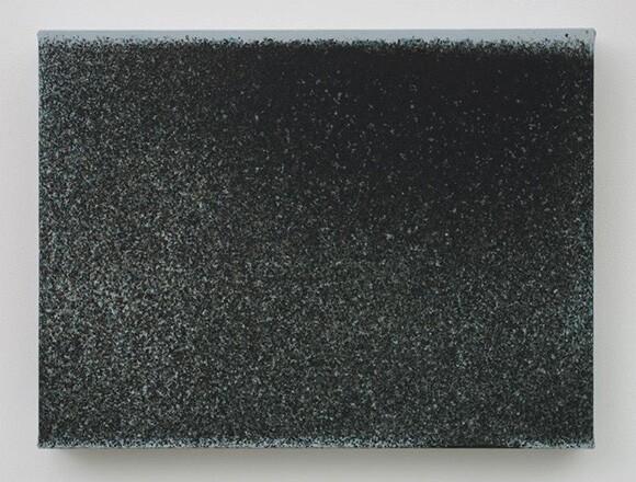 "John Knuth, ""Western,"" 2013, Watercolor/Flyspeck on canvas, 18 x 24."