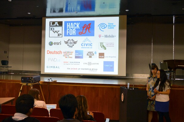 Hack for L.A. founders Catherine Geanuracos and Lilly Kam speak at the presentations on June 7 at LADWP