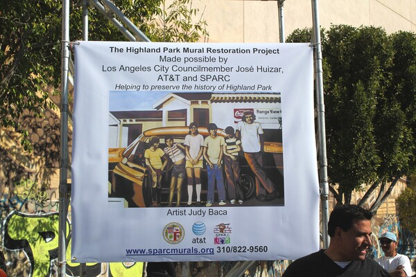 Jose Huizar at tagged Highland Park Mural during ceremony announcing restoration in Jan. 2011 I Photo courtesy of District 14