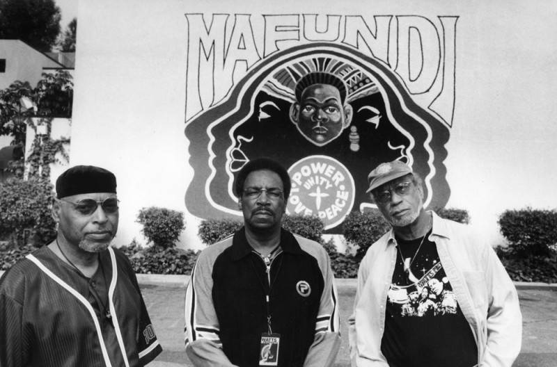 The Watts Prophets, Richard A. DeDeaux, Otis O'Solomon, and Anthony (Amde) Hamilton at the Mafundi Community Center |  Los Angeles Neighborhoods Collection, Los Angeles Public Library