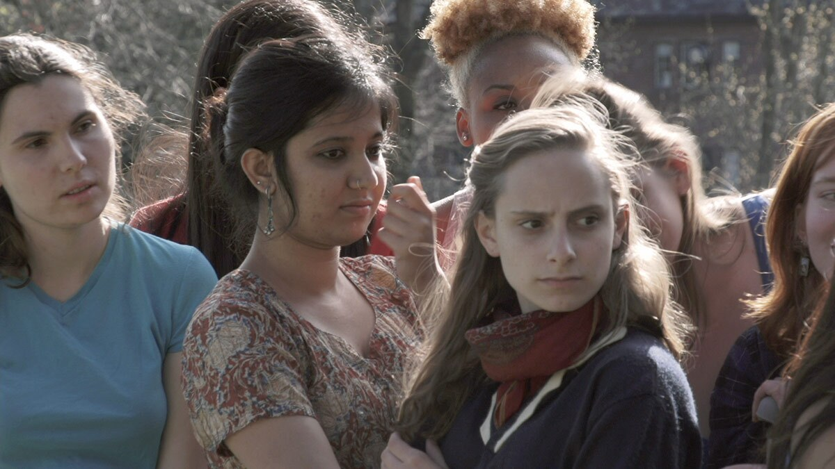 """An image from Sharon Hayes' """"Ricerche: three"""" (2013), featuring female students from Mt. Holoyoke College.   Courtesy of UCLA"""