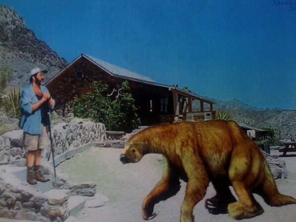 The Photoshopped image from the Providence Mountains Visitor Center paleontological display, using images by Carl Buell