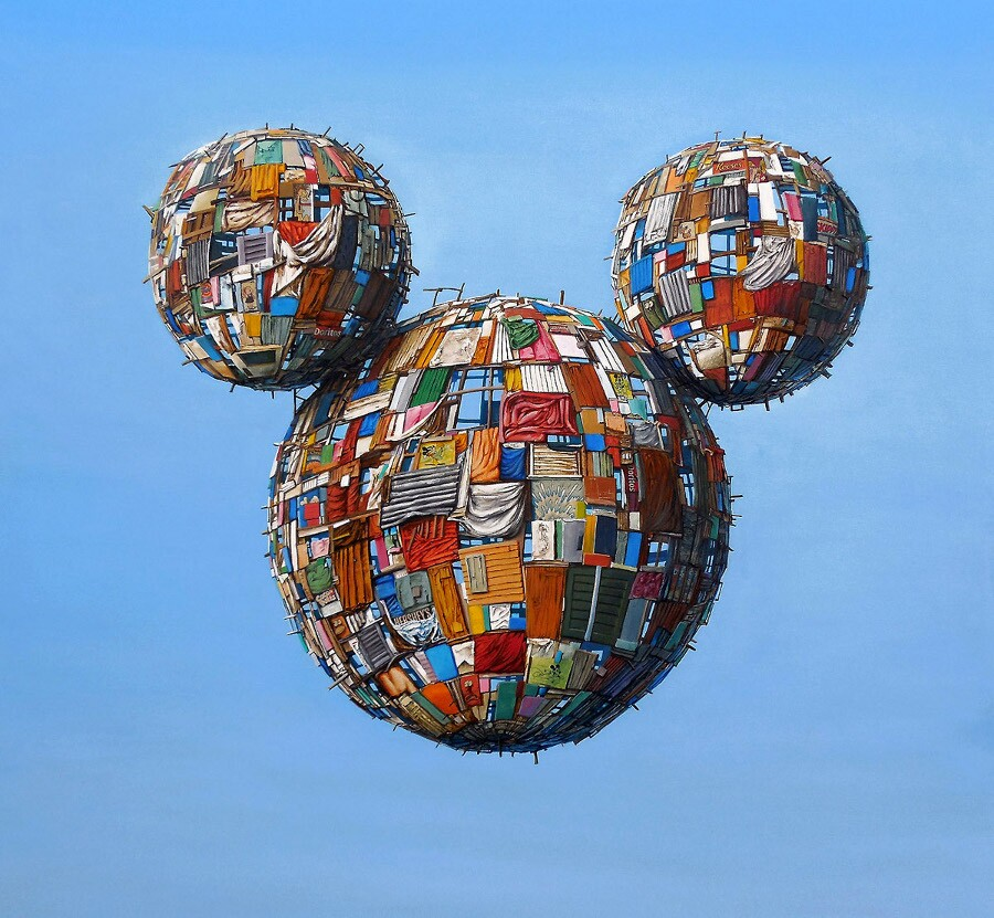 """Jeff Gillette, """"MicWorlds."""" Acrylic on canvas. 