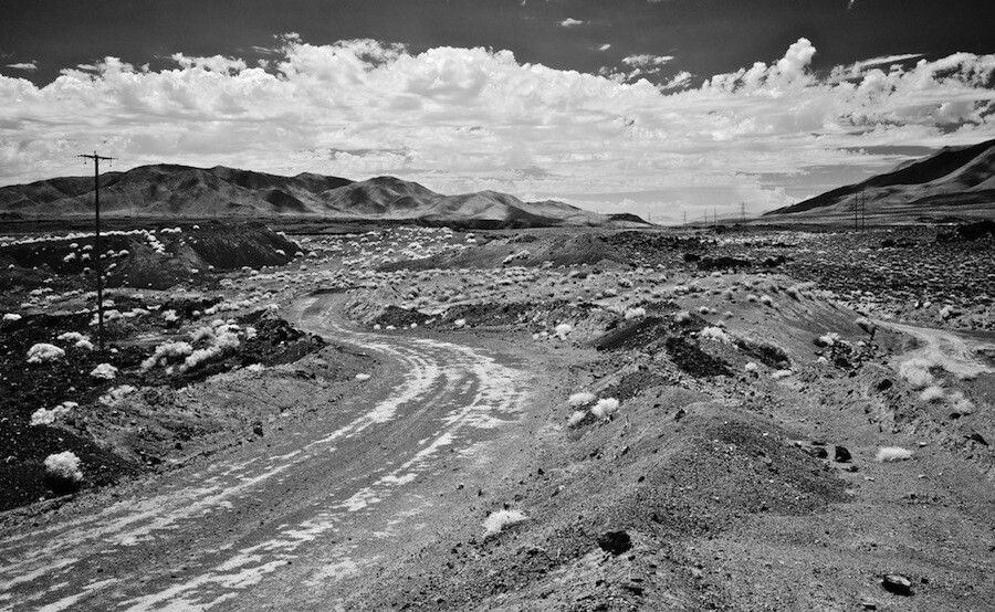 Dirt Road & Power Lines - Infrared Exposure - Red Hill Quarry - Fossil Falls, CA - 2015