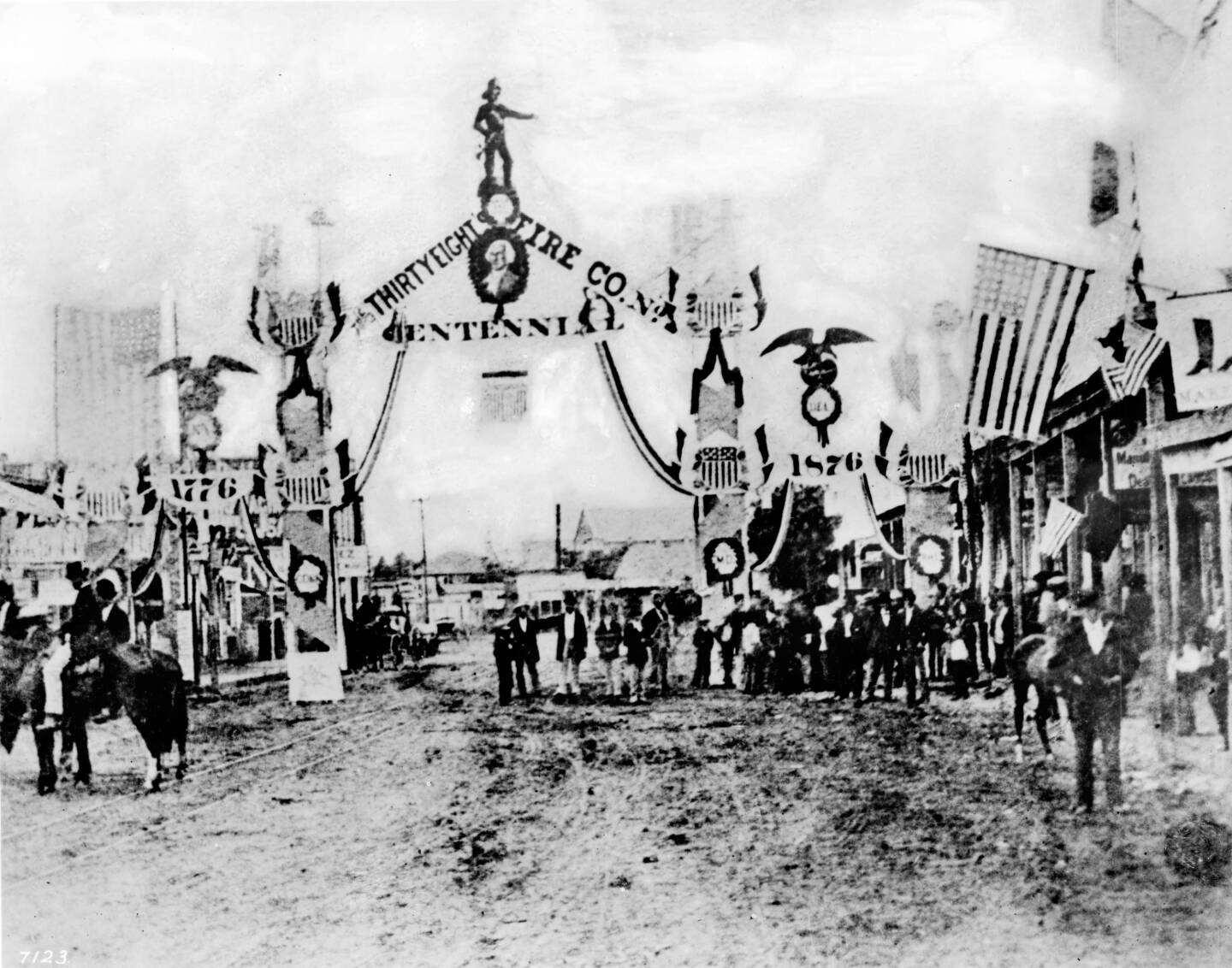 Fourth of July parade down Los Angeles' Main Street, 1876