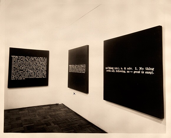"Installation view of ""Joseph Kosuth: Nothing,"" at Gallery 669, October 1968. 
