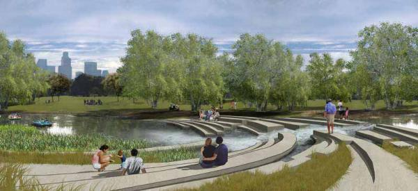 A rendering from the Los Angeles River Master Plan