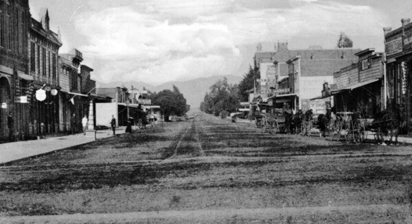 Santa Monica's Third Street, seen here looking north from Broadway, was already a busy commercial corridor at the time of this photograph, circa 1891. Courtesy of the USC Libraries - California Historical Society Collection.