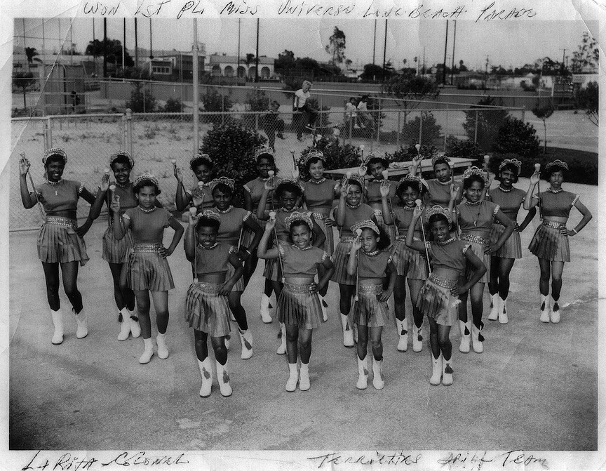 The drill team The Terryettes led by Mrs. Thelma Terry, an influential recreation leader and educator in the Pico Neighborhood of Santa Monica. Circa 1950s. Photographer: unknown. | Image courtesy of the Quinn Research Center