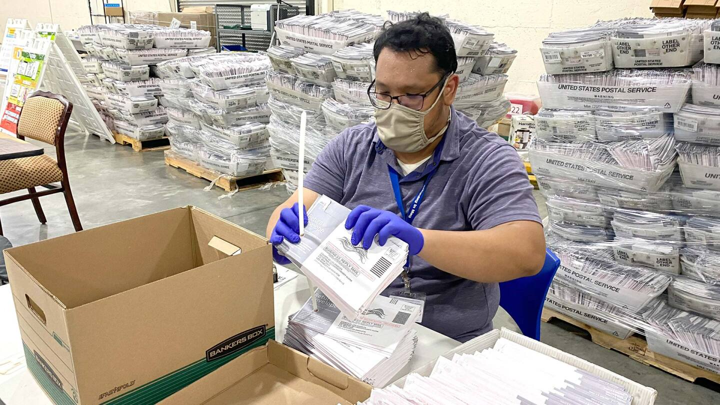 Clerk Joseph Gabriel M Gavile works at the ballot processing center at the L.A. County Registrar temporary building at the Fairplex in Pomona on Oct. 23, 2020. | Keith Birmingham/MediaNews Group/Pasadena Star-News via Getty Images