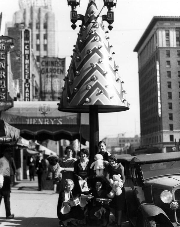 Conical, metallic toy trees followed the wreaths on Hollywood's Santa Claus Lane. Courtesy of the Photo Collection, Los Angeles Public Library.