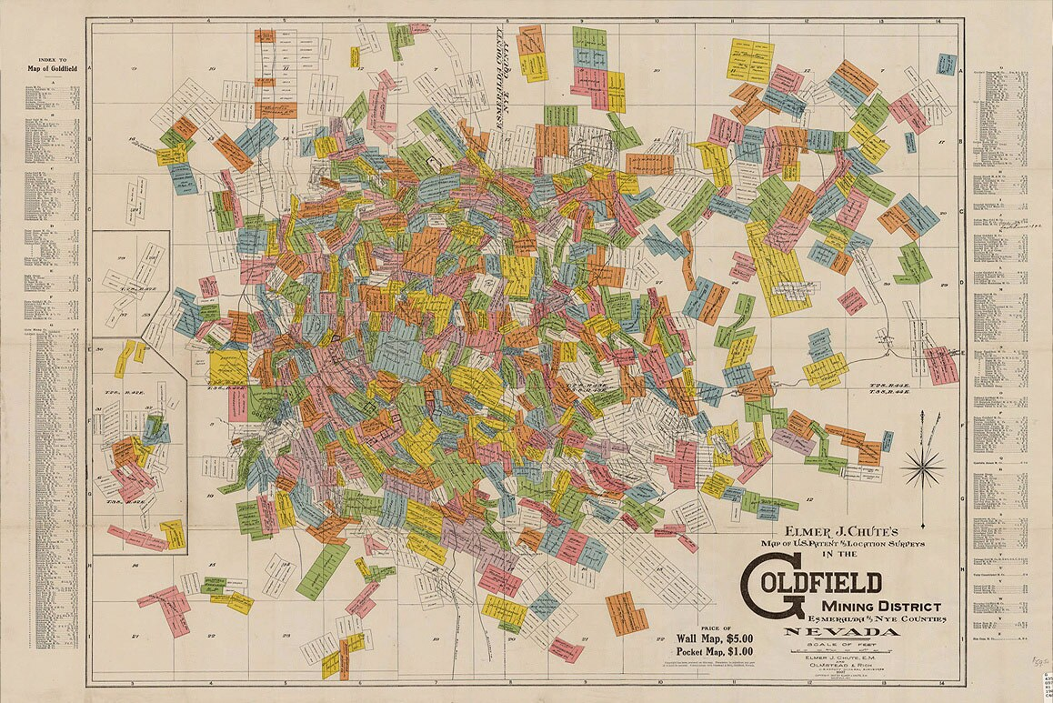Elmer J. Chutes' 1907 historic illustrated map of Goldfield Mining District land patents and location surveys. | Courtesy of University of Las Vegas, Libraries.