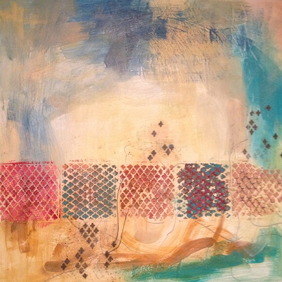 """Transcendence II"" by Natasha Shoro, 2013, encaustic and mixed media on wood panel, 30""x30"" 