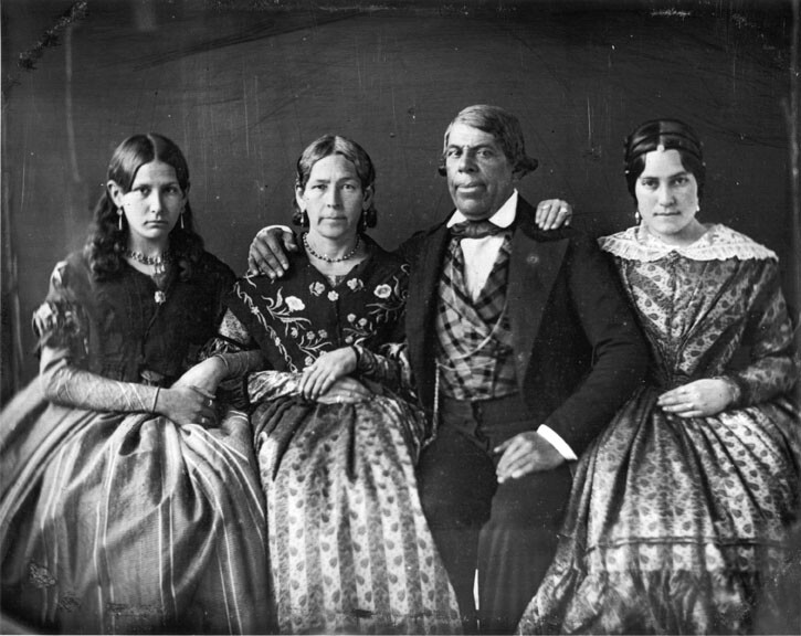 Pío de Jesus Pico and his wife, María Ignacia Alvarado Pico, in 1852, with two of their nieces, María Anita Alvarado (far left) and Trinidad Ortega (far right).