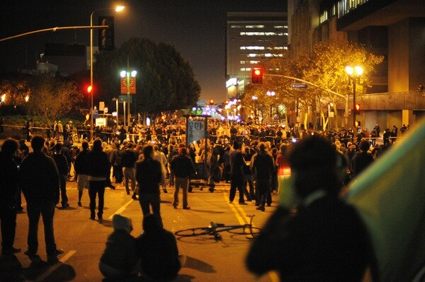 Outside the Occupy L.A. eviction perimeter at 1st & Broadway   Photo by Tom Andrews