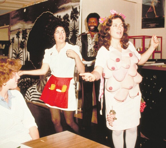 "Anne Gauldin as the Waitress Goddess Diana in ""Ready to Order"" by the Waitresses, a performance in restaurants in L.A., 1978 
