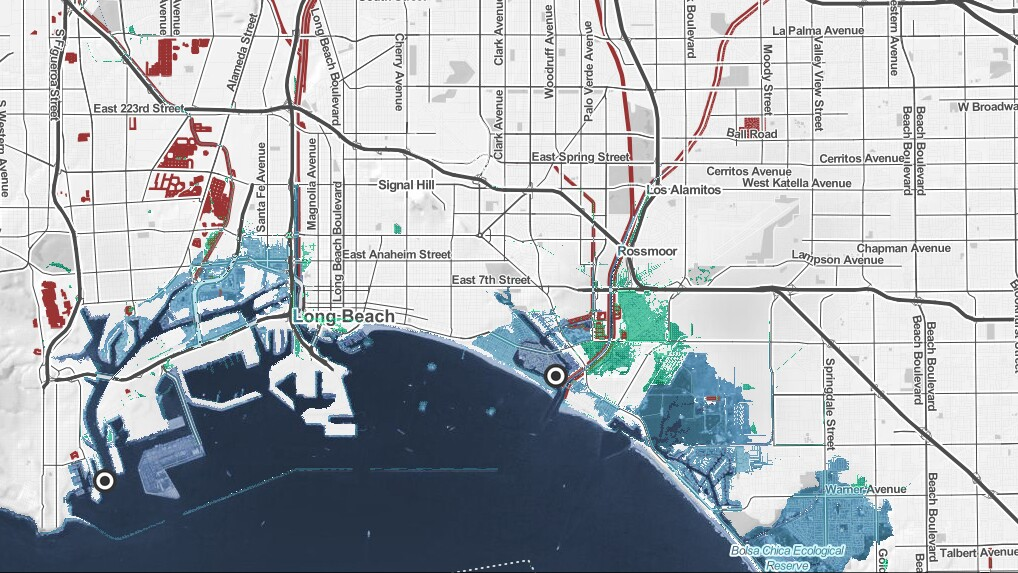 Projected water levels in Long Beach as a result of rising seas. | map via ClimateCentral.org