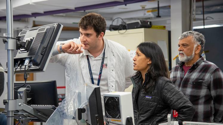 Teddy Tzanetos, MiMi Aung and Bob Balaram of NASA's Mars Helicopter project observe a flight test on January 18, 2019. | NASA/JPL-Caltech