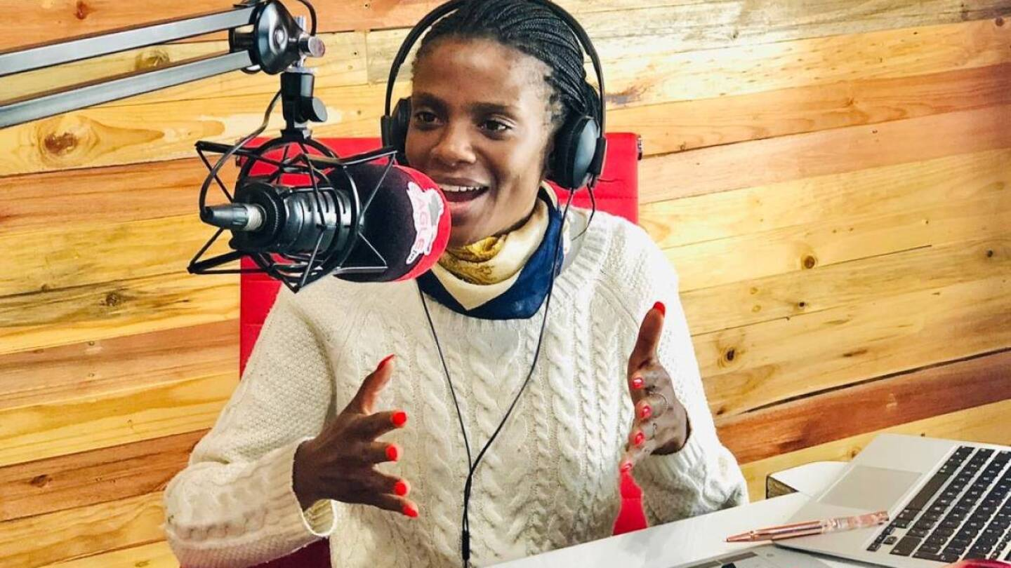 Ndapewoshali Shapwanale during a talk show on Eagle FM in Windhoek, Namibia, April 2020.  | Shelleygan Petersen/Handout via Thomson Reuters Foundation