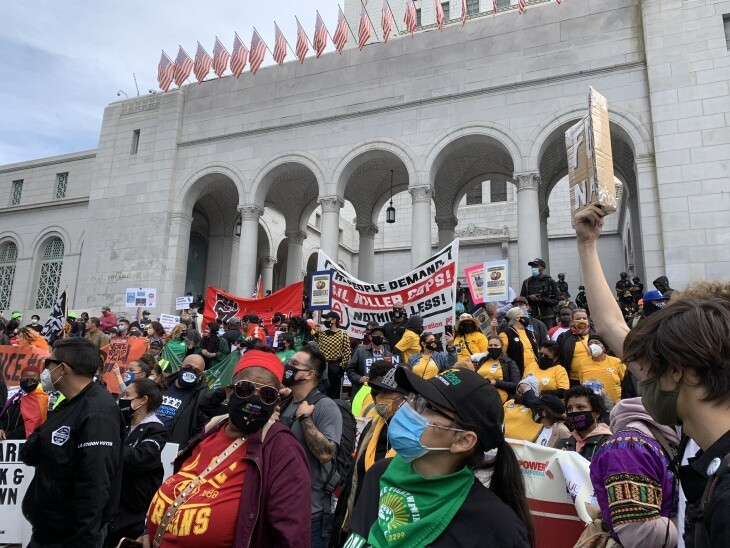 """Outside Los Angeles City Hall, revelers cheers """"We did it! The votes were counted!"""" after Joe Biden was declared the winner of the 2020 presidential election on Saturday, Nov. 7, 2020. 