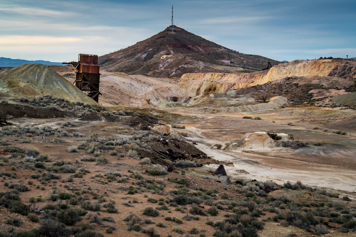 A view of Columbia Mountain, Goldfield, Nevada. Just north of the peak are the infamous Sandstorm group of claims that launched Goldfield's rush in 1902.   Kim Stringfellow.