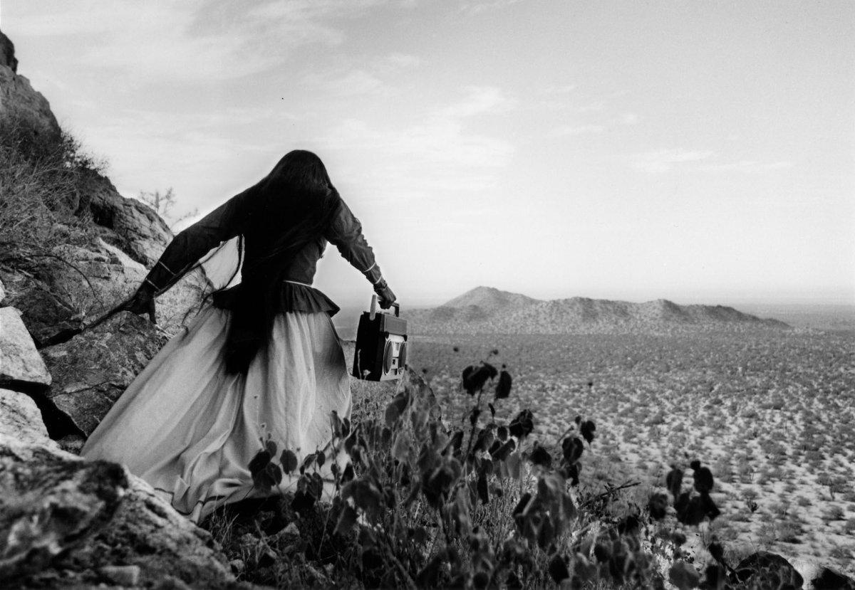 Mujer ángel, desierto de Sonora, 1979 (Angel Woman, Sonora Desert) Gelatin silver print 16 × 20 in.   © Graciela Iturbide - Graciela Iturbide exhibition PST LA/LA
