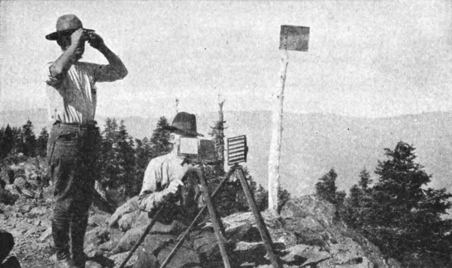 Black Butte fire lookout in Mendicino, CA, on August 30, 1923, by L.A. Barrett, for the US Forest Service.