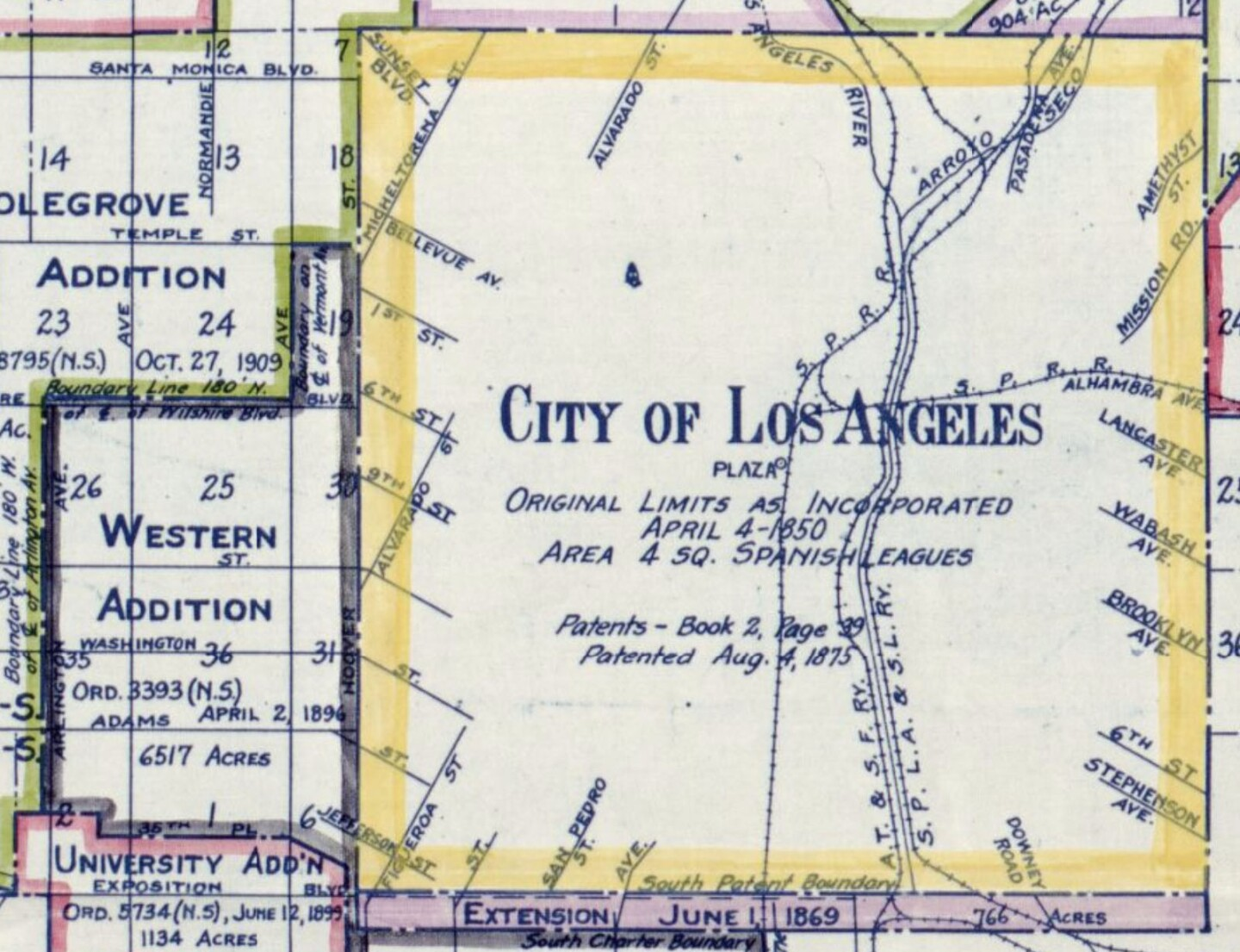 Potion of map showing Western Addition of territory annexed to City of Los Angeles