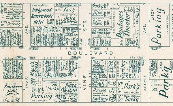 Detail of a 1956 real estate map of Hollywood by Nirenstein's National Realty Map Company. Courtesy of the Map Collection - Los Angeles Public Library.