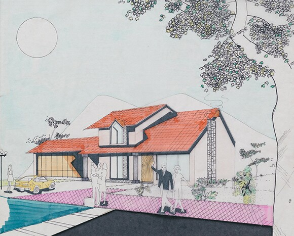 Architectural drawing by Carmen Argote's father, Jorge Javier Argote. 1984.