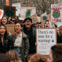 Demonstrators from several environmental groups including Extinction Rebellion and Sunrise Movement demand broad action at a youth-led climate strike near City Hall on December 6, 2019 in New York City. | Scott Heins/Getty Images