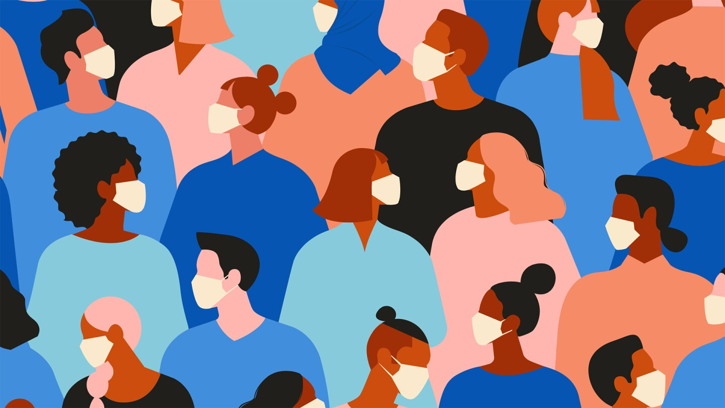 A graphic of a crowd of people wearing face masks.