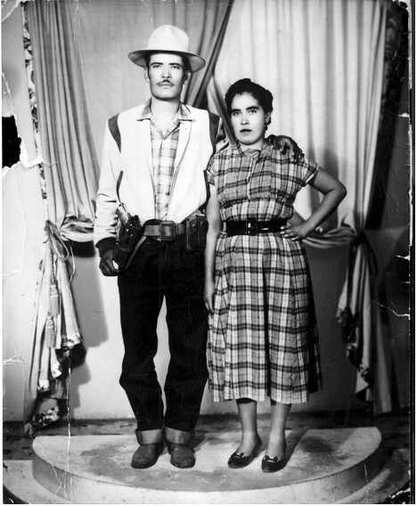 Black-and-white photograph of Salomon Chavez Huerta and Carmet Mejia Huerta circav 1954. | Courtesy of Alvaro Huerta