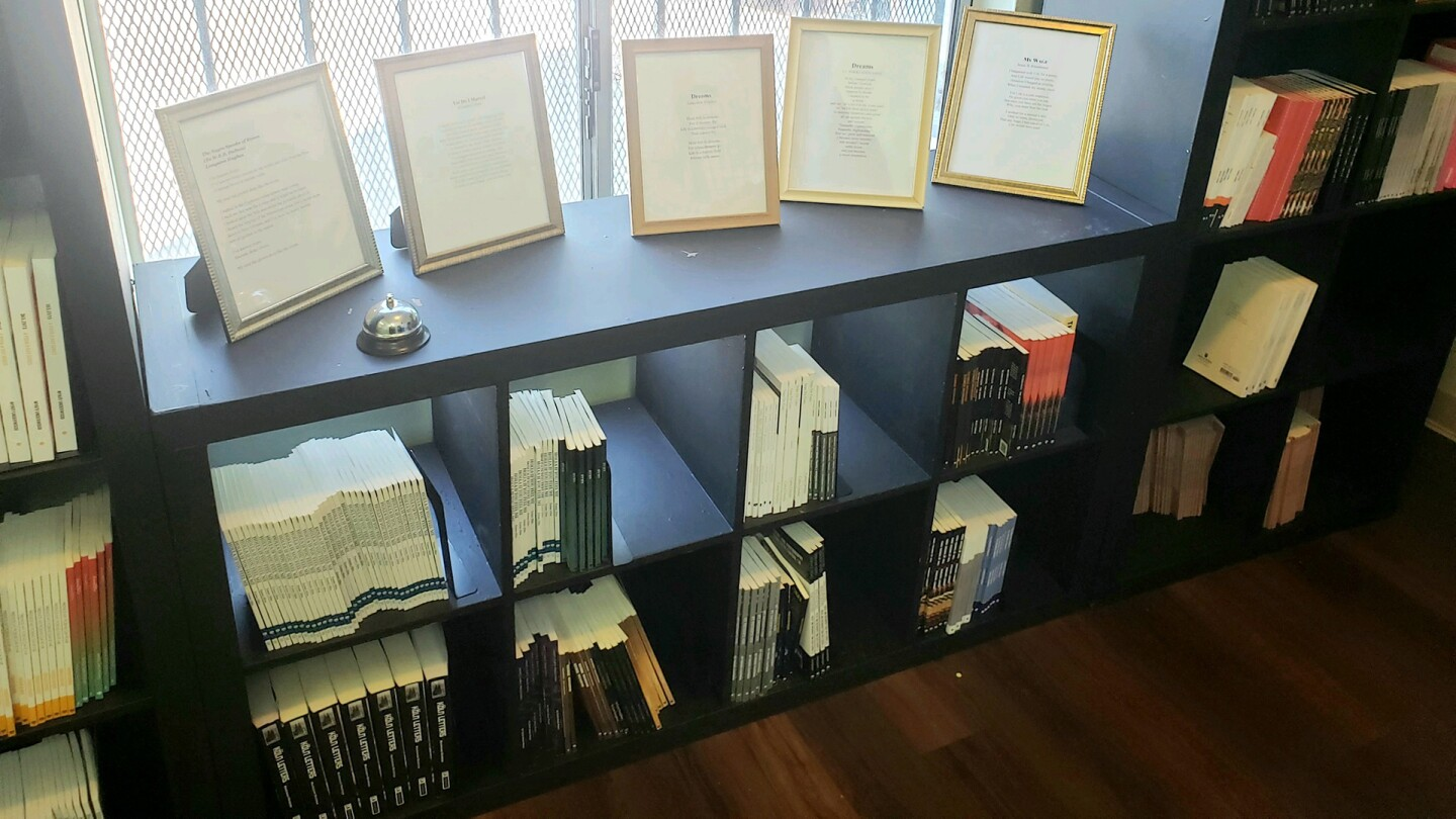 Books of poetry on the shelves | Courtesy of Sims Library