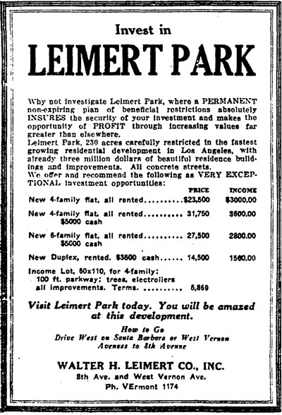 A 1929 advertisement assuring potential buyers of housing restrictions.   Image: Courtesy of Los Angeles Public Library