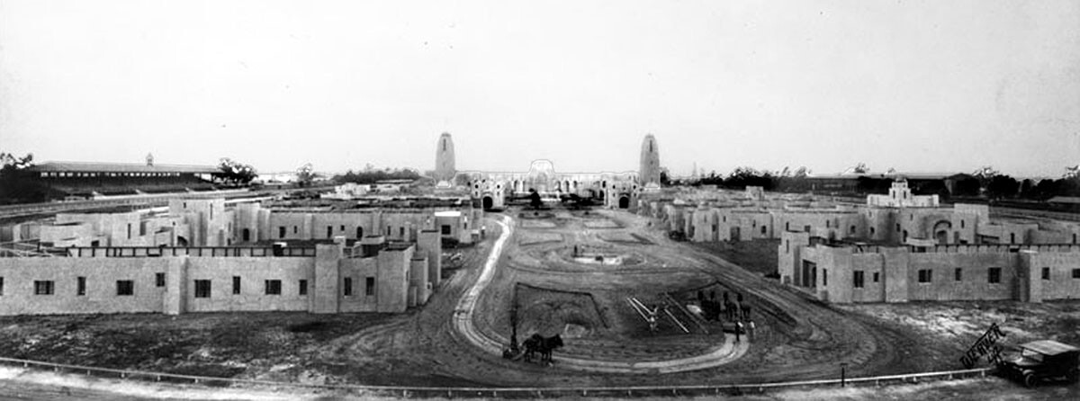 Progress. Built very quickly, the exposition took up nearly 65 acres on what is now Pier C in Long Beach harbor. Photograph courtesy of Security Pacific National Bank Collection, Los Angeles Public Library