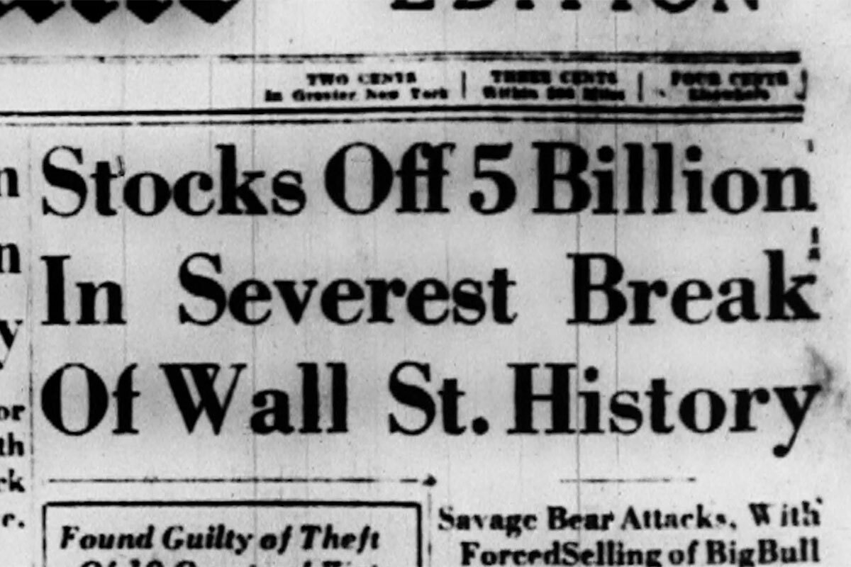 "A headline describes the financial loss of the Great Depression. | Still from ""City Rising: The Informal Economy"""
